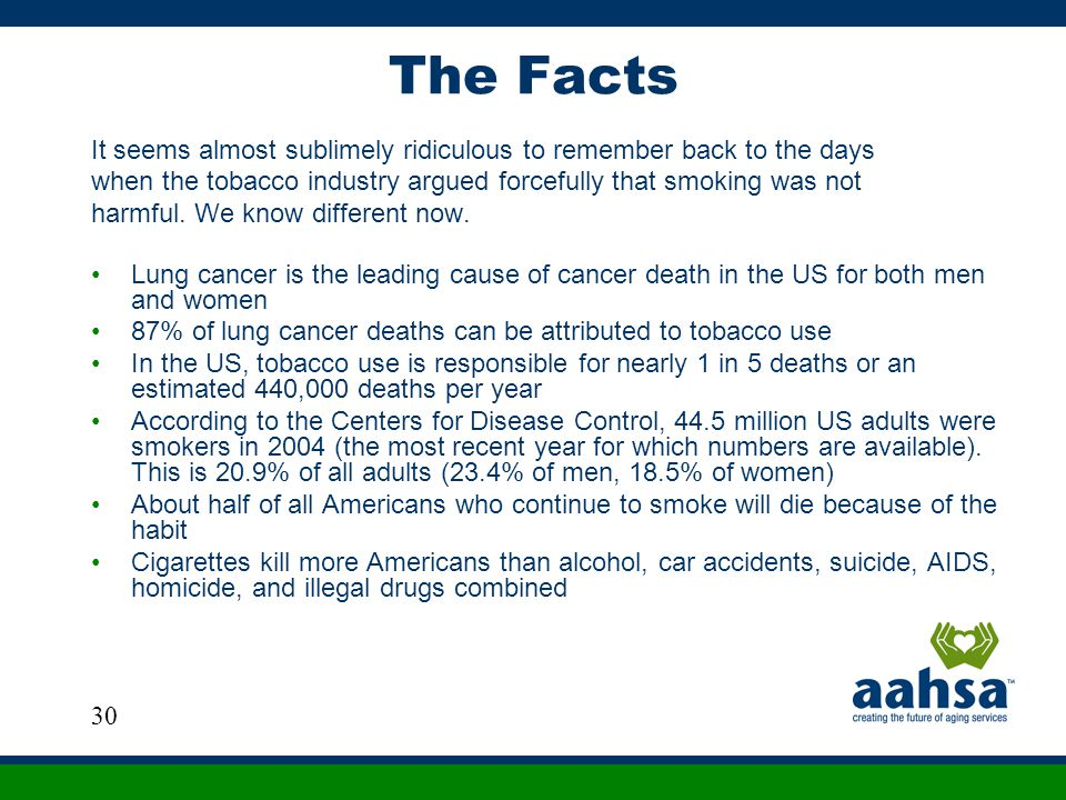 The Facts It seems almost sublimely ridiculous to remember back to the days when the tobacco industry argued forcefully that smoking was not harmful.