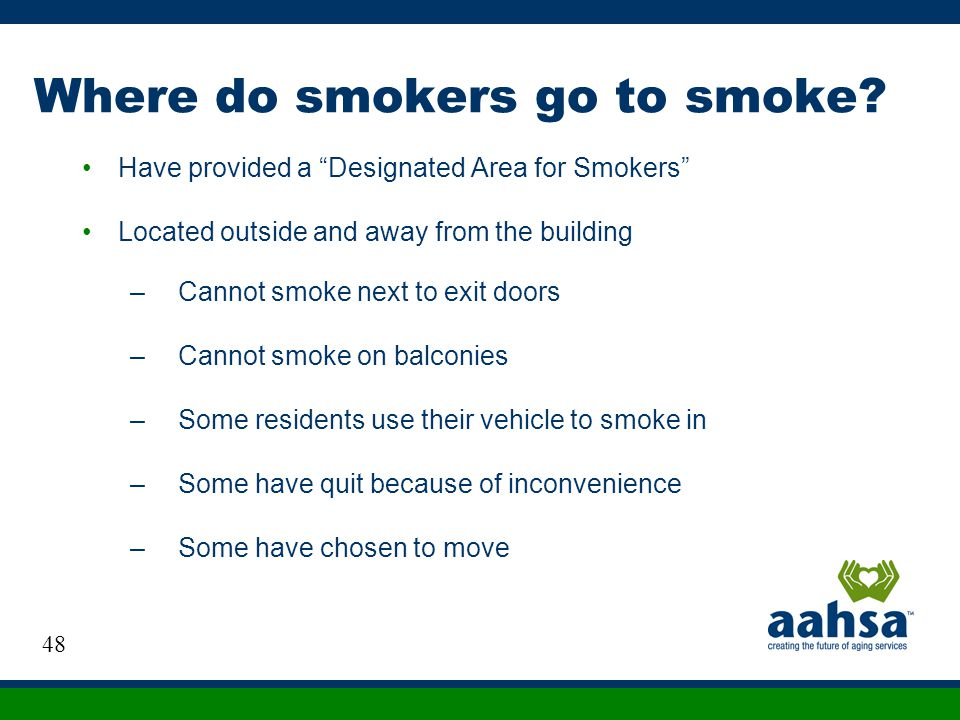 Where do smokers go to smoke? Have provided a Designated Area for Smokers Located outside and away from the building –Cannot smoke next to exit doors