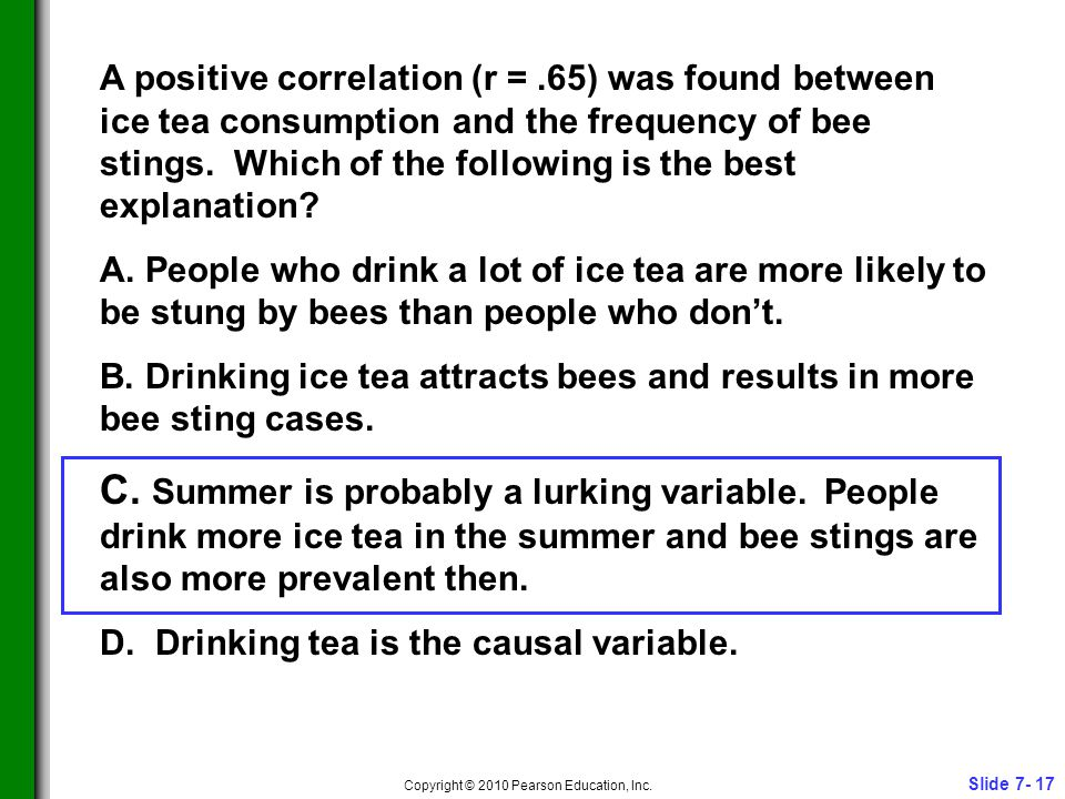Slide 7- 17 Copyright © 2010 Pearson Education, Inc. A positive correlation (r =.65) was found between ice tea consumption and the frequency of bee st
