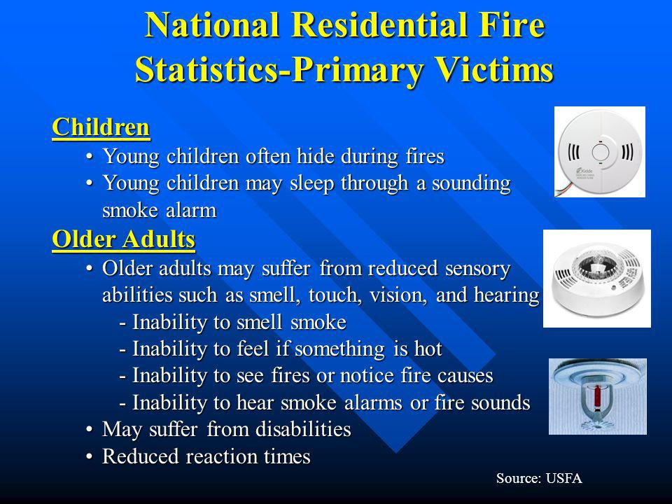 National Residential Fire Statistics-Primary Victims Children Young children often hide during firesYoung children often hide during fires Young child