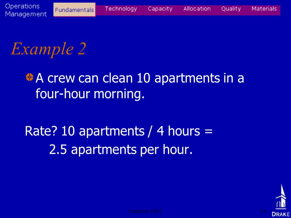 Summer 200214 Example 2 A crew can clean 10 apartments in a four-hour morning.