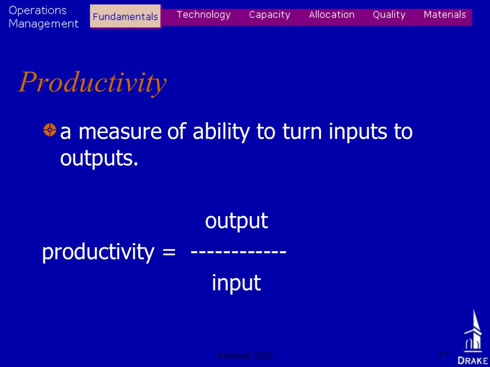Summer 200217 Productivity a measure of ability to turn inputs to outputs.