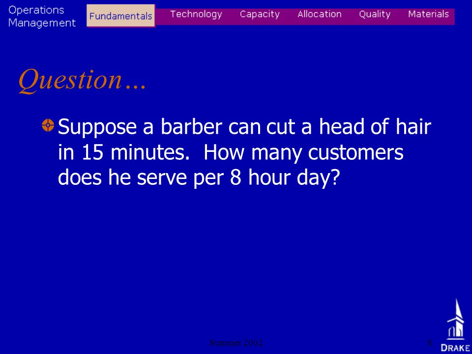 Summer 20028 Question… Suppose a barber can cut a head of hair in 15 minutes.