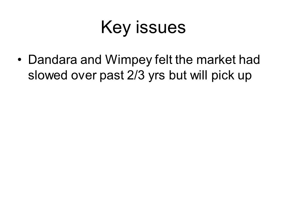 Key issues Dandara and Wimpey felt the market had slowed over past 2/3 yrs but will pick up