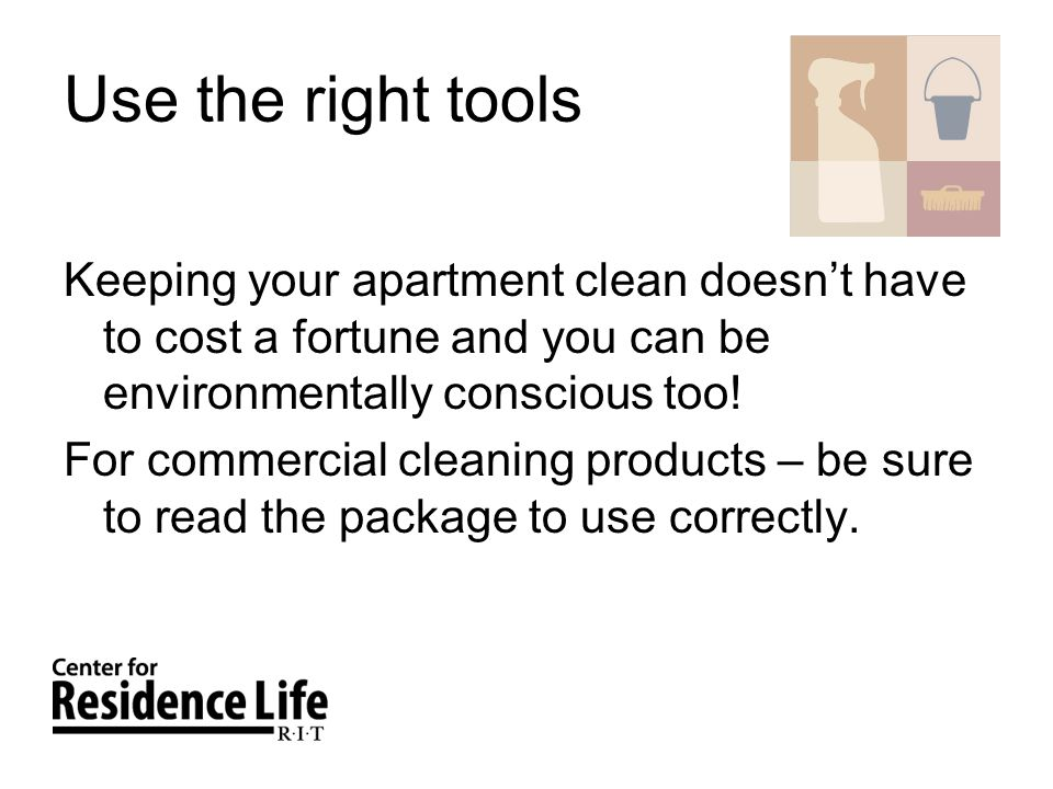 Use the right tools Keeping your apartment clean doesnt have to cost a fortune and you can be environmentally conscious too.