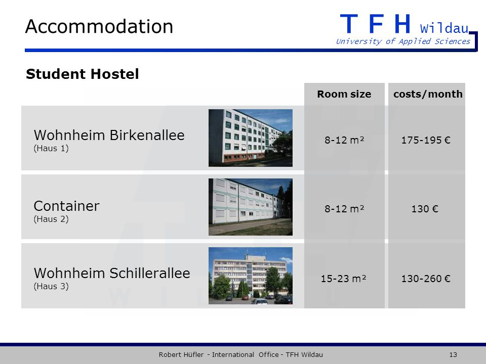 TFH Wildau University of Applied Sciences Robert Hüfler - International Office - TFH Wildau13 Accommodation Student Hostel Wohnheim Birkenallee (Haus