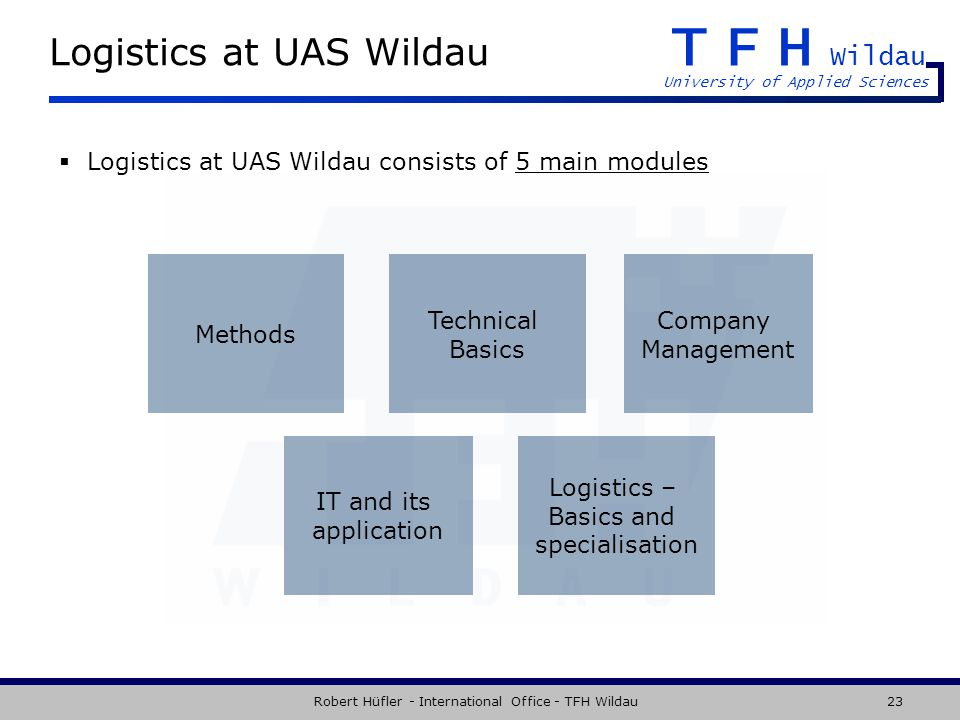 TFH Wildau University of Applied Sciences Robert Hüfler - International Office - TFH Wildau23 Logistics at UAS Wildau Logistics at UAS Wildau consists