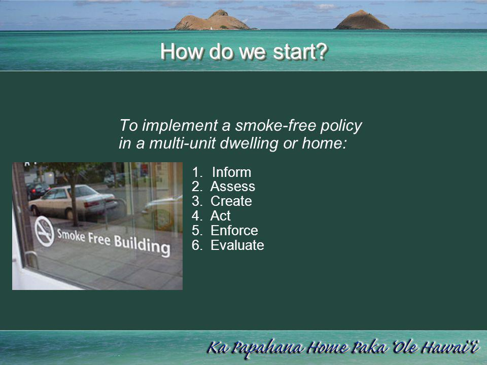 How do we start? To implement a smoke-free policy in a multi-unit dwelling or home: 1.Inform 2. Assess 3. Create 4. Act 5. Enforce 6. Evaluate
