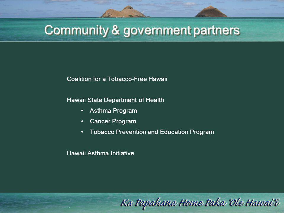 Community & government partners Coalition for a Tobacco-Free Hawaii Hawaii State Department of Health Asthma Program Cancer Program Tobacco Prevention