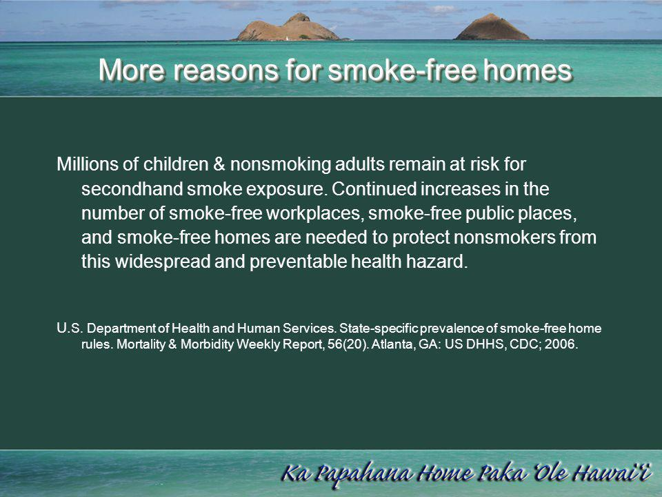 More reasons for smoke-free homes More reasons for smoke-free homes Secondhand smoke causes premature death and disease in children and nonsmoking adults.