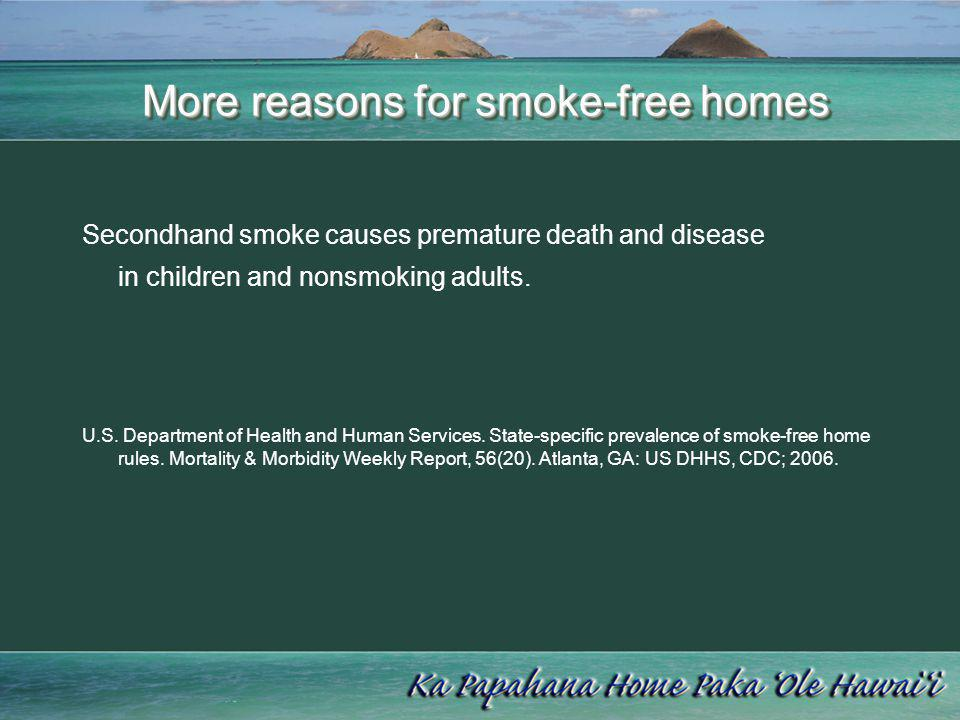 More reasons for smoke-free homes More reasons for smoke-free homes Secondhand smoke causes premature death and disease in children and nonsmoking adu