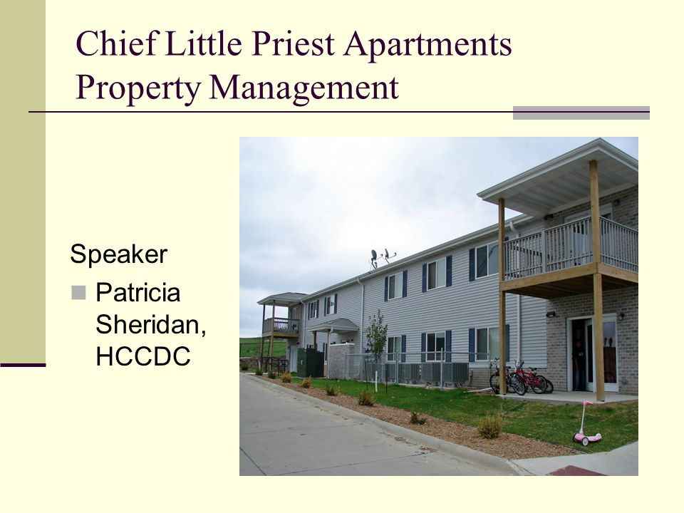 Chief Little Priest Apartments Property Management Speaker Patricia Sheridan, HCCDC