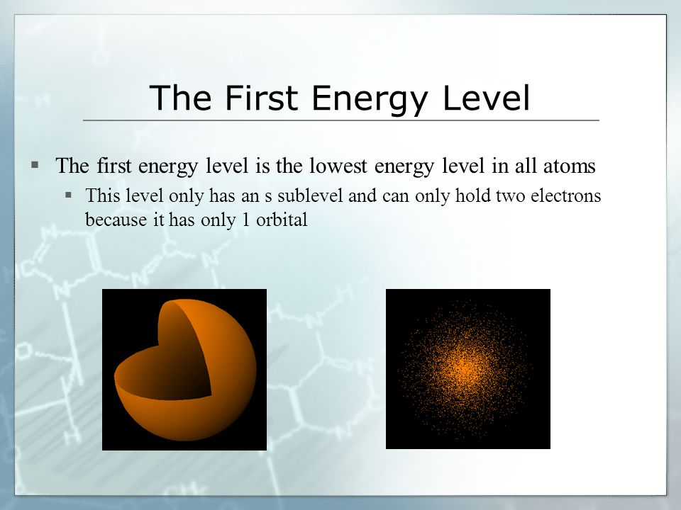The First Energy Level The first energy level is the lowest energy level in all atoms This level only has an s sublevel and can only hold two electron