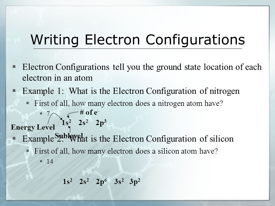 Writing Electron Configurations Electron Configurations tell you the ground state location of each electron in an atom Example 1: What is the Electron