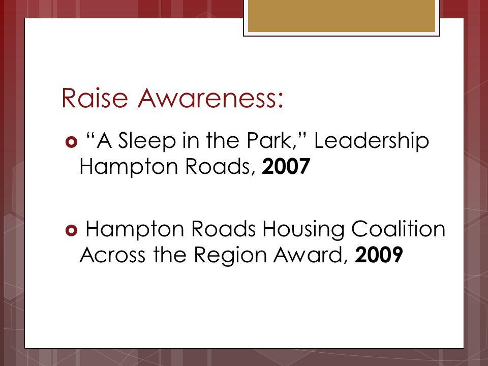 Raise Awareness: A Sleep in the Park, Leadership Hampton Roads, 2007 Hampton Roads Housing Coalition Across the Region Award, 2009