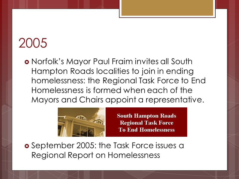 2005 Norfolks Mayor Paul Fraim invites all South Hampton Roads localities to join in ending homelessness: the Regional Task Force to End Homelessness
