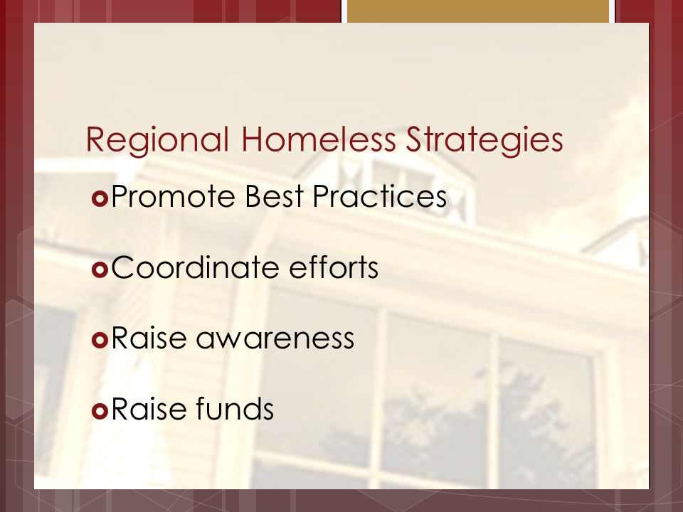 Regional Homeless Strategies Promote Best Practices Coordinate efforts Raise awareness Raise funds