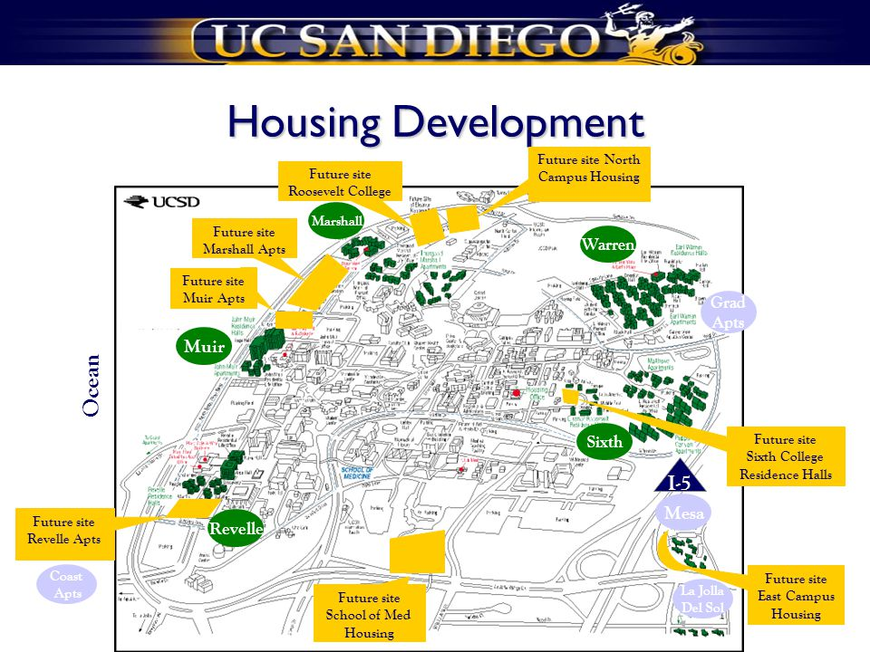 Housing Development Sixth Revelle Marshall Muir Warren I-5 Ocean Future site School of Med Housing Future site Revelle Apts Future site Muir Apts Future site Marshall Apts Future site Roosevelt College Future site North Campus Housing Future site Sixth College Residence Halls Future site East Campus Housing La Jolla Del Sol Grad Apts Mesa Coast Apts