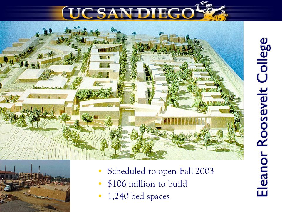 Scheduled to open Fall 2003 $106 million to build 1,240 bed spaces Eleanor Roosevelt College