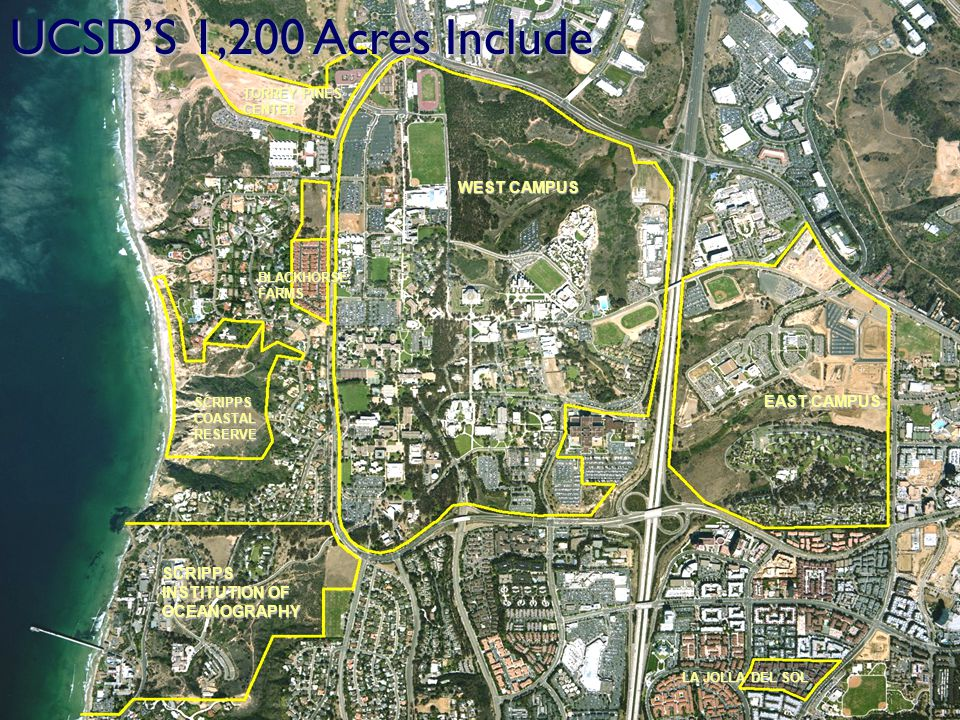 SCRIPPS INSTITUTION OF OCEANOGRAPHY WEST CAMPUS EAST CAMPUS BLACKHORSE FARMS TORREY PINES CENTER SCRIPPS COASTAL RESERVE LA JOLLA DEL SOL UCSDS 1,200