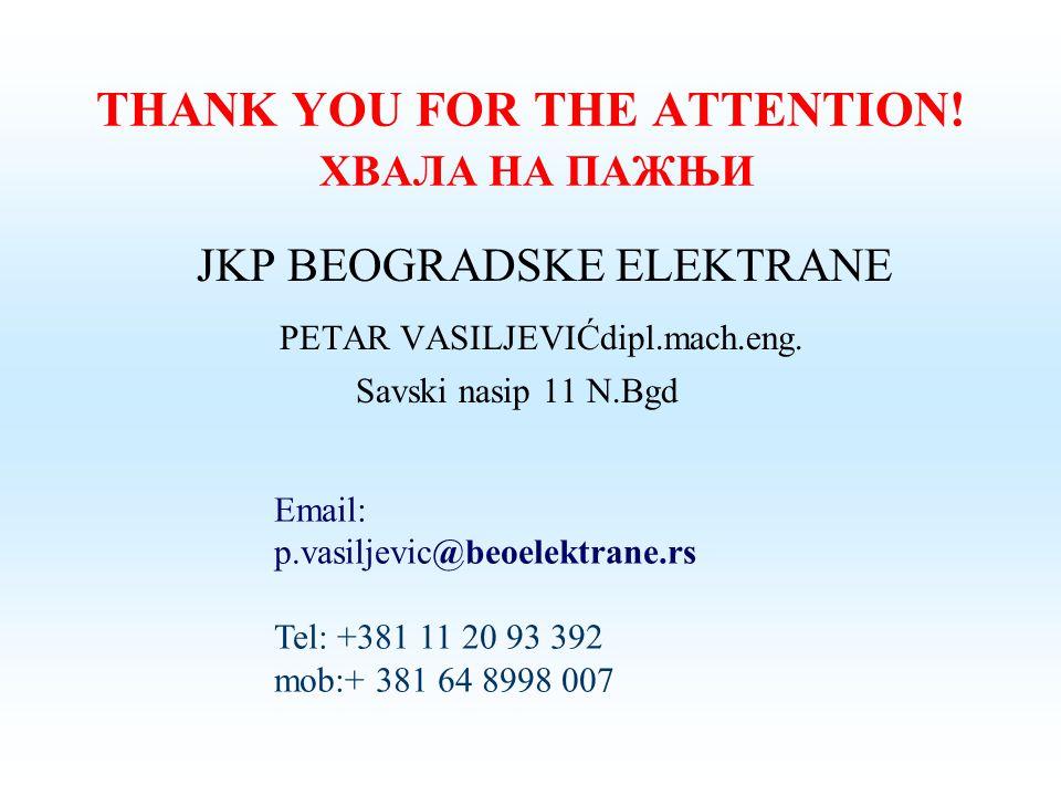 THANK YOU FOR THE ATTENTION! ХВАЛА НА ПАЖЊИ JKP BEOGRADSKE ELEKTRANE PETAR VASILJEVIĆdipl.mach.eng. Savski nasip 11 N.Bgd Email: p.vasiljevic@beoelekt