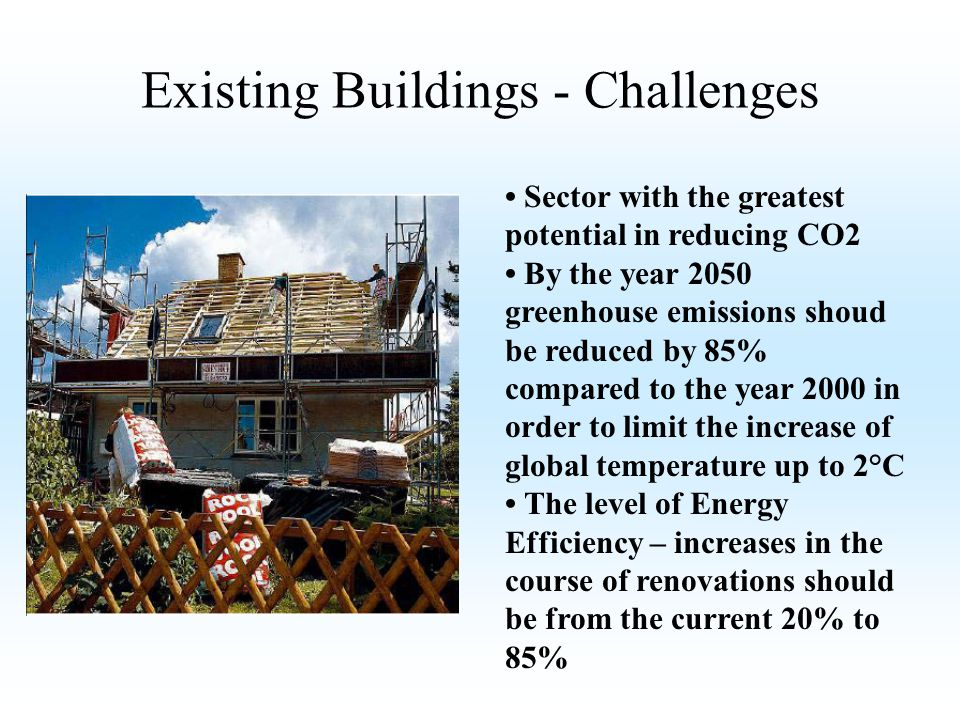 Sector with the greatest potential in reducing CO2 By the year 2050 greenhouse emissions shoud be reduced by 85% compared to the year 2000 in order to