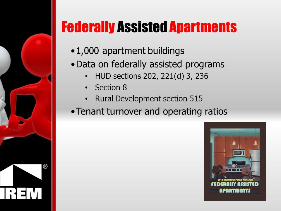 Federally Assisted Apartments 1,000 apartment buildings Data on federally assisted programs HUD sections 202, 221(d) 3, 236 Section 8 Rural Developmen