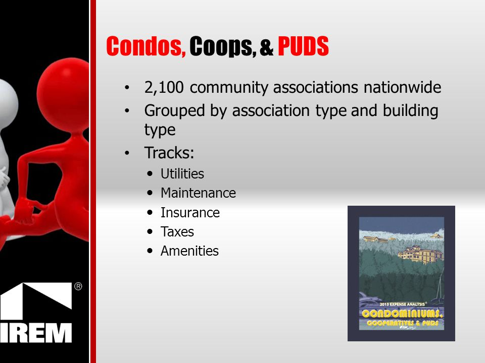 Condos, Coops, & PUDS 2,100 community associations nationwide Grouped by association type and building type Tracks: Utilities Maintenance Insurance Taxes Amenities