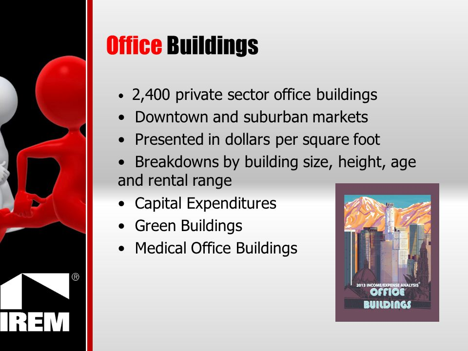 Office Buildings 2,400 private sector office buildings Downtown and suburban markets Presented in dollars per square foot Breakdowns by building size, height, age and rental range Capital Expenditures Green Buildings Medical Office Buildings