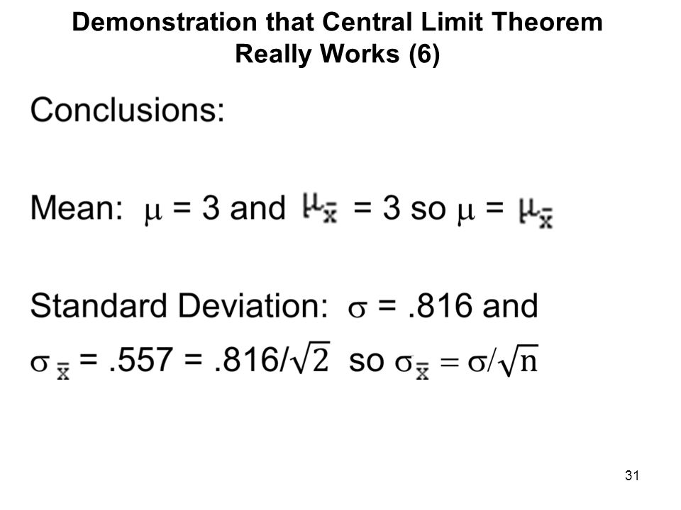 Demonstration that Central Limit Theorem Really Works (6) 31