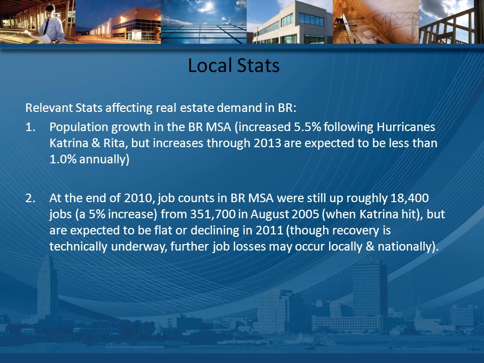 Local Stats Relevant Stats affecting real estate demand in BR: 1.Population growth in the BR MSA (increased 5.5% following Hurricanes Katrina & Rita, but increases through 2013 are expected to be less than 1.0% annually) 2.At the end of 2010, job counts in BR MSA were still up roughly 18,400 jobs (a 5% increase) from 351,700 in August 2005 (when Katrina hit), but are expected to be flat or declining in 2011 (though recovery is technically underway, further job losses may occur locally & nationally).