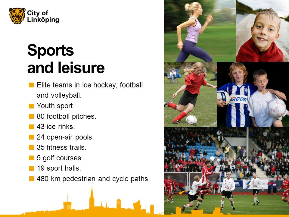 Sports and leisure Elite teams in ice hockey, football and volleyball.