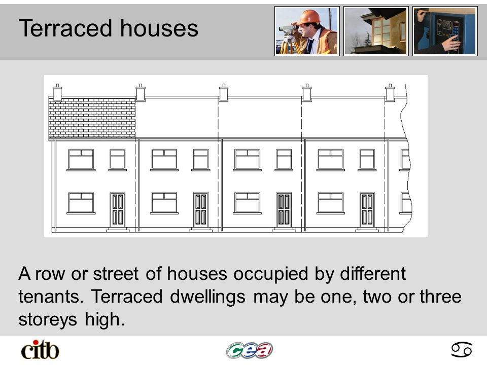 abcdabcd Terraced houses A row or street of houses occupied by different tenants.