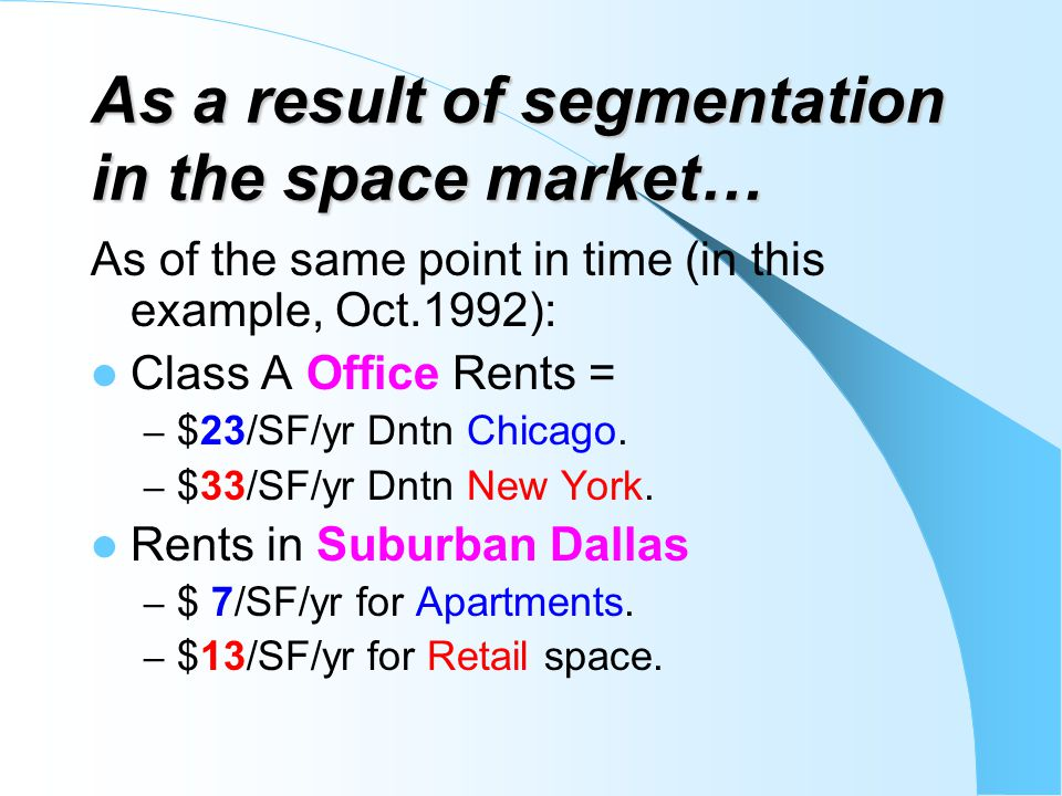 As a result of segmentation in the space market… As of the same point in time (in this example, Oct.1992): Class A Office Rents = – $23/SF/yr Dntn Chi