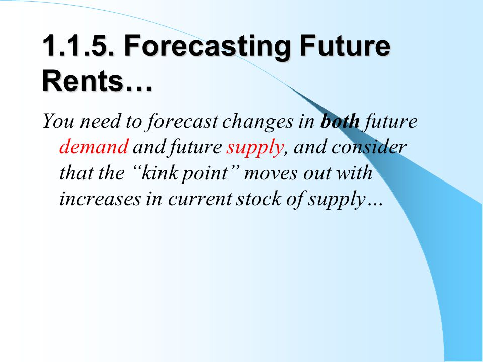 1.1.5. Forecasting Future Rents… You need to forecast changes in both future demand and future supply, and consider that the kink point moves out with