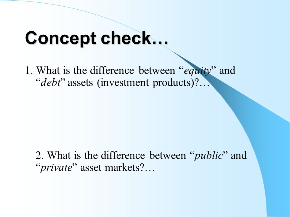 Concept check… 1. What is the difference between equity anddebt assets (investment products)?… 2. What is the difference between public andprivate ass