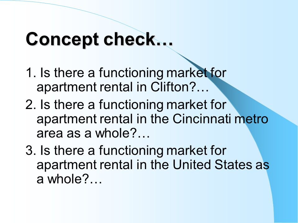 Concept check… 1. Is there a functioning market for apartment rental in Clifton?… 2. Is there a functioning market for apartment rental in the Cincinn