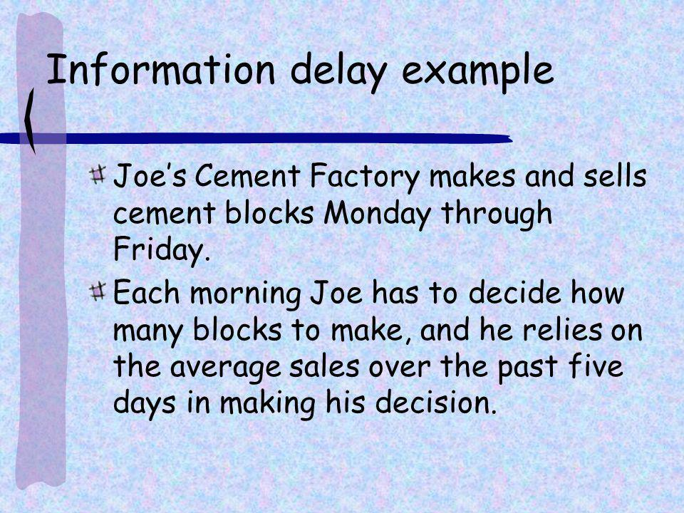 Information delay example Joes Cement Factory makes and sells cement blocks Monday through Friday. Each morning Joe has to decide how many blocks to m