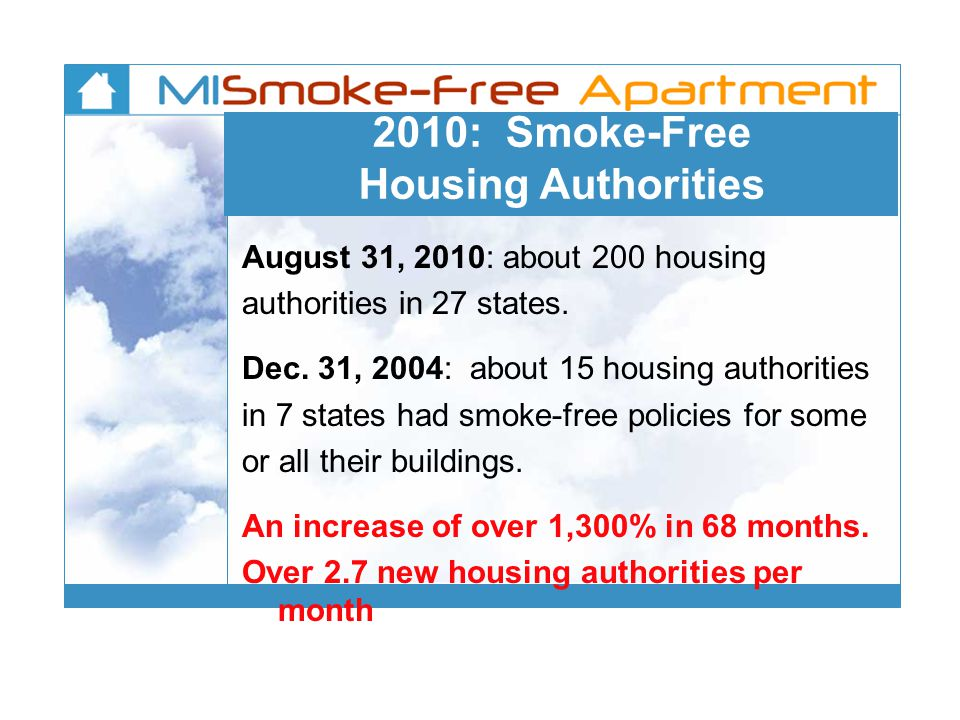 2010: Smoke-Free Housing Authorities August 31, 2010: about 200 housing authorities in 27 states.