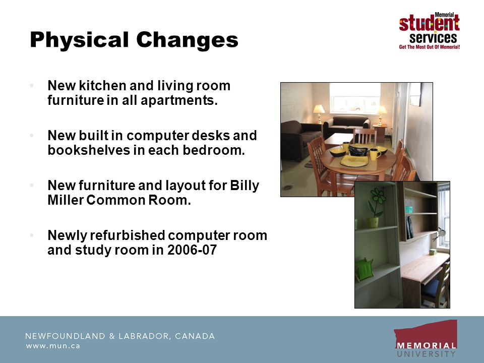 Physical Changes New kitchen and living room furniture in all apartments. New built in computer desks and bookshelves in each bedroom. New furniture a