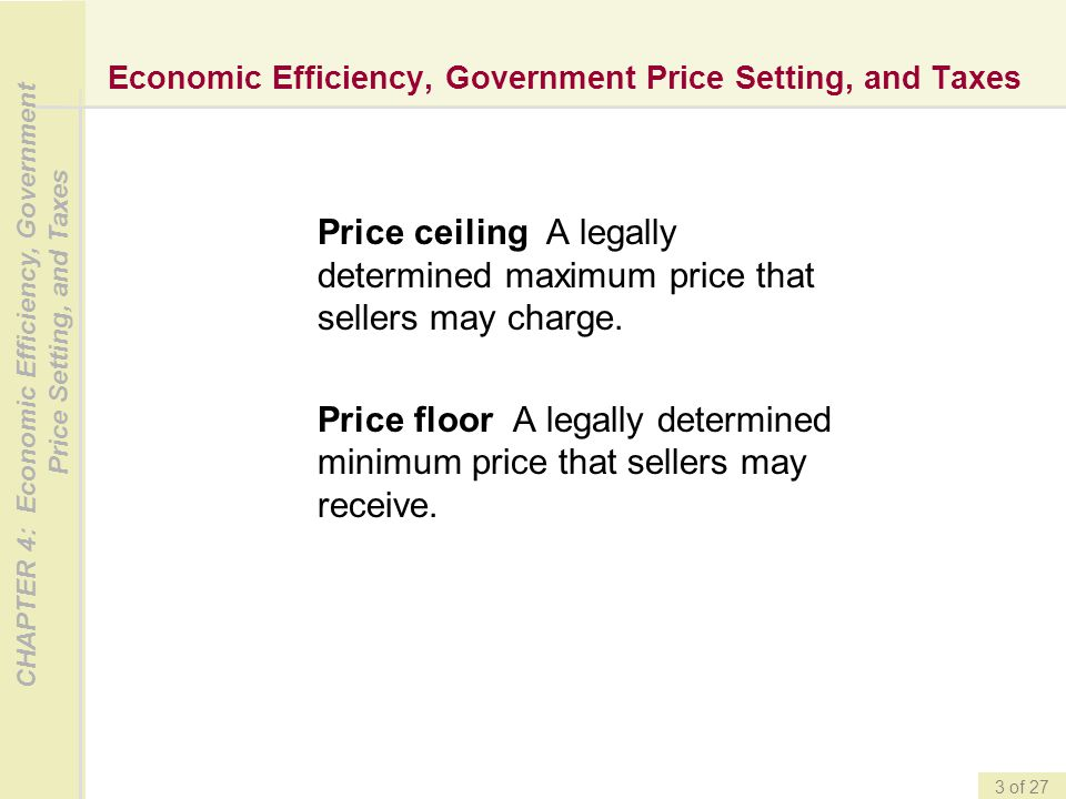CHAPTER 4: Economic Efficiency, Government Price Setting, and Taxes 3 of 27 Economic Efficiency, Government Price Setting, and Taxes Price ceiling A l