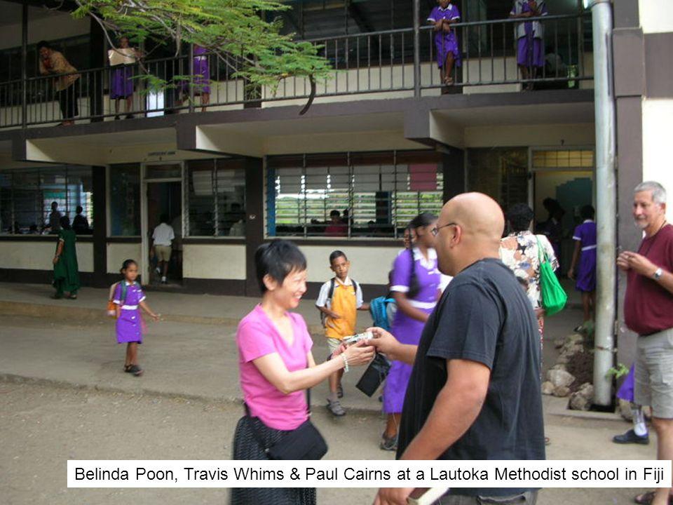 Belinda Poon, Travis Whims & Paul Cairns at a Lautoka Methodist school in Fiji