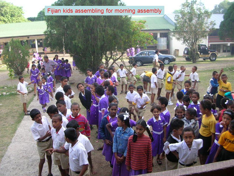 Fijian kids assembling for morning assembly