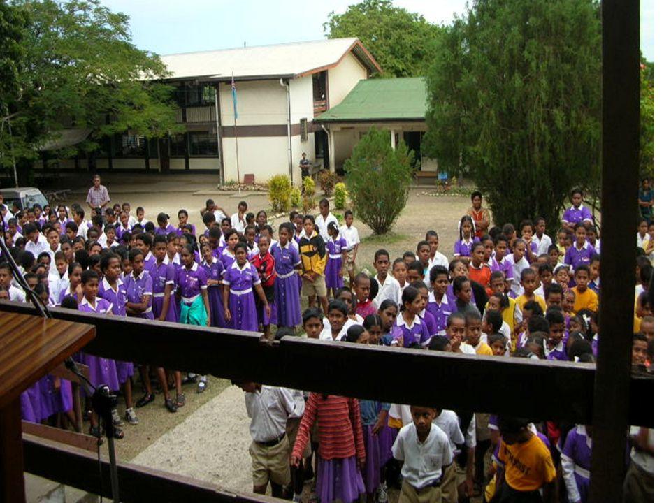 Morning Assembly in Progress at the Methodist School in Lautoka, Fiji