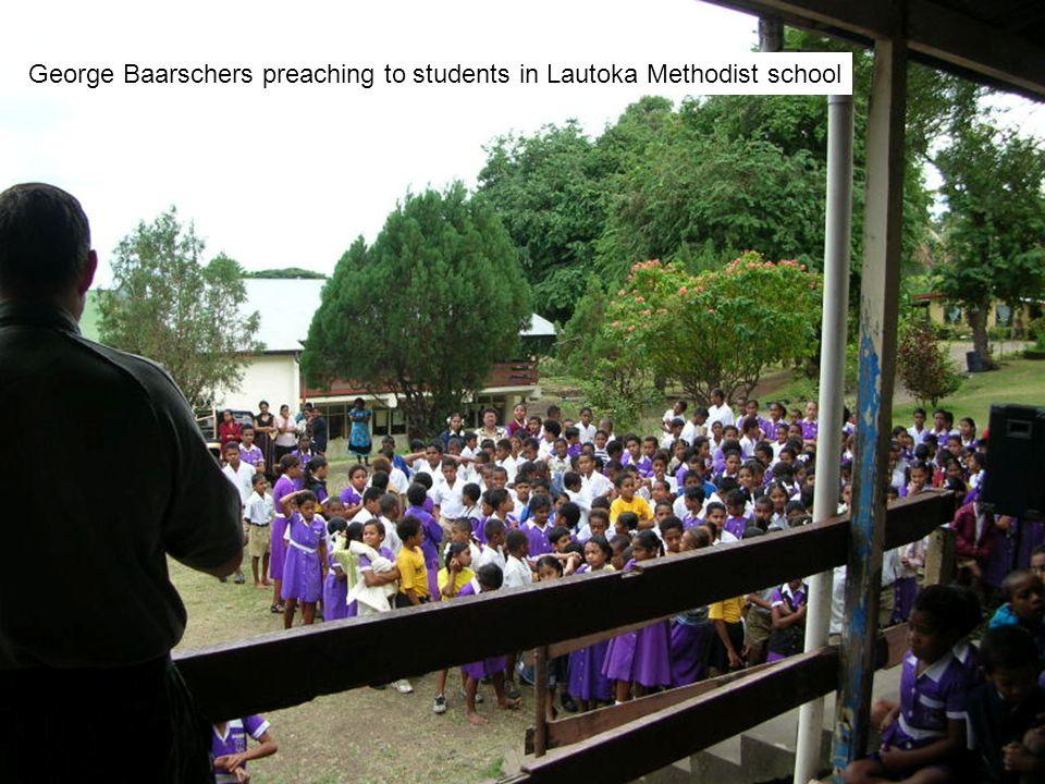 George Baarschers preaching to students in Lautoka Methodist school