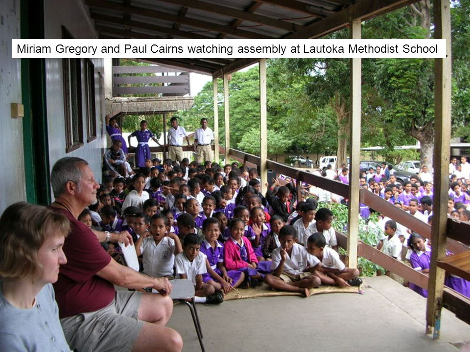 Miriam Gregory and Paul Cairns watching assembly at Lautoka Methodist School