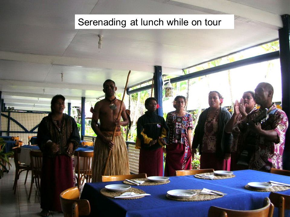 Serenading at lunch while on tour