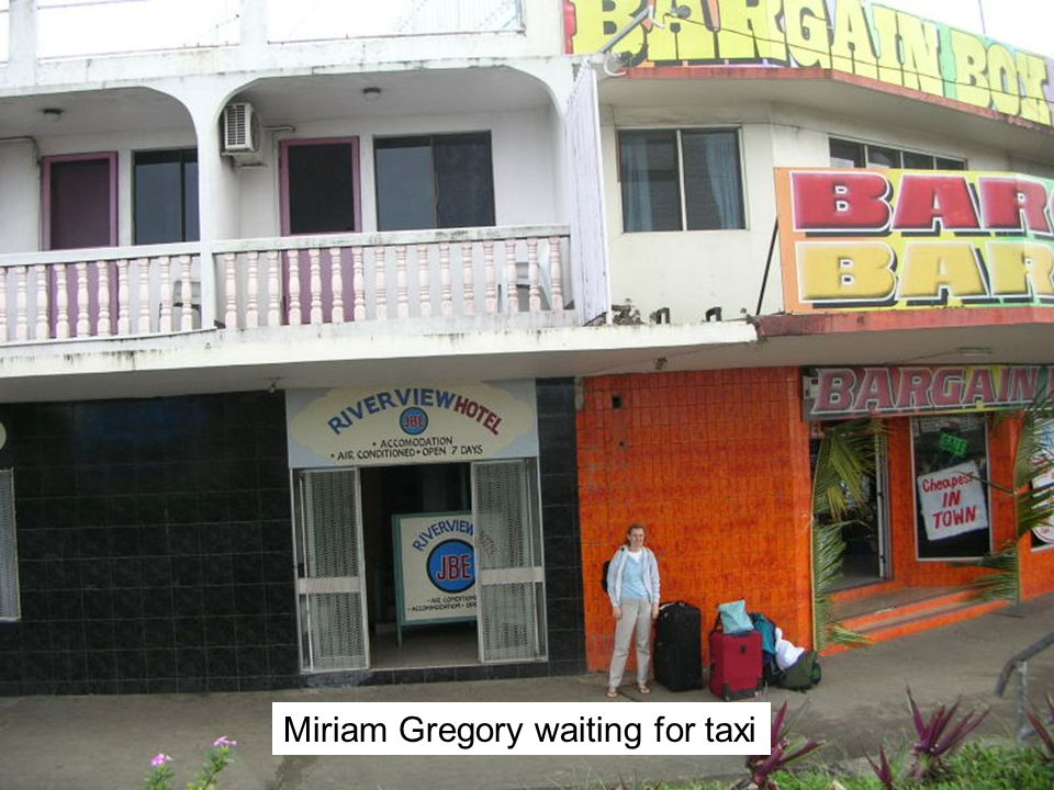 Miriam Gregory waiting for taxi