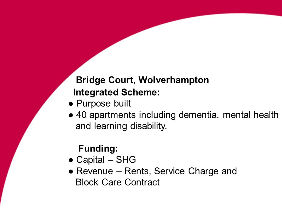Bridge Court, Wolverhampton Integrated Scheme: Purpose built 40 apartments including dementia, mental health and learning disability.