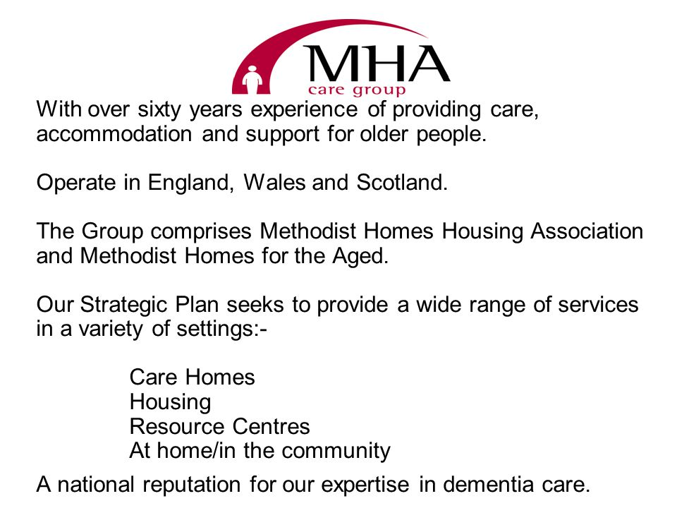Consider MHAs latest developments in dementia care housing :- - specialist - integrated - segregated - mixed tenures - extra services What has worked well.